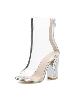 Peep-Toe PVC Chunky Heel Casual Boots