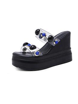 Fashionable Rivet Platform Wedges Slippers