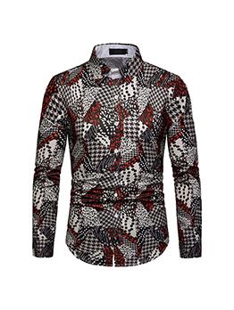Printed Contrast Color Turndown Collar Shirt
