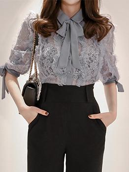 Korean Design Bow Collar Lace Blouse