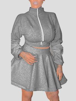 Lantern Sleeve Zip Top With A-Line Short Skirt