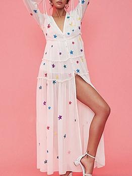 Bohemian Star Split Hem Embroidery Maxi Dress