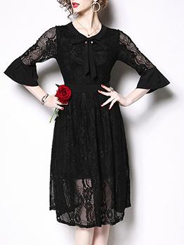 Flare Sleeve Lace Black Long Sleeve Spring Dress