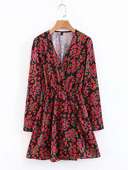 V Neck Elastic Waist Long Sleeve Floral Dress