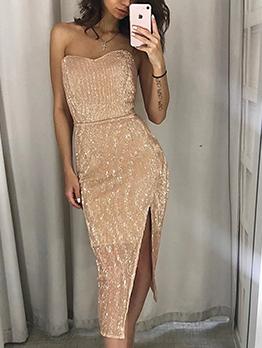 Glitter Slit Strapless Sexy Dress