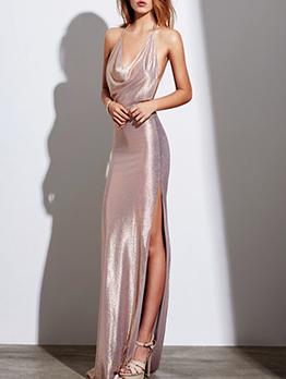Backless Floor Length Split Maxi Dress