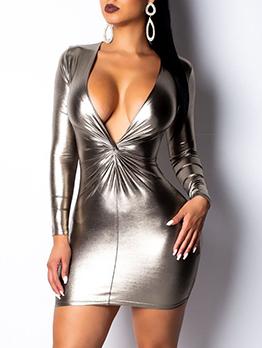 V-Neck Twist Slim Long Sleeve Dresses