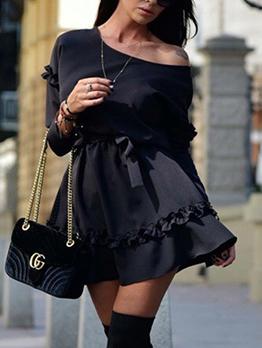 Spring Stringy Selvedge Binding Long Sleeve Dresses