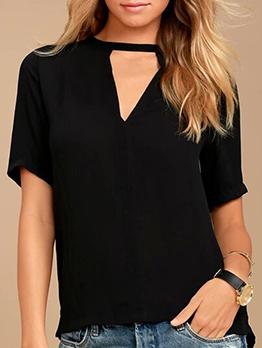 Keyhole Neck Solid Black Short Sleeve T-Shirt