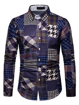 Plaid Color Block Mens Shirts