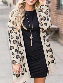 V Neck Leopard Print Pocket Long Coat
