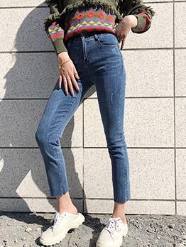 Chic Irregular Straight Denim Jeans