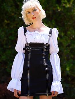 Chic Zipper Chain Black Sleeveless Dresses