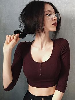 Minimalist U-Neck Solid Cropped T-Shirt