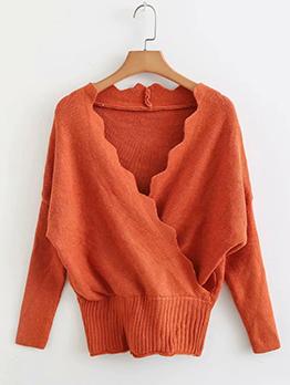 Simple Design V-Neck Solid Wrap Sweater
