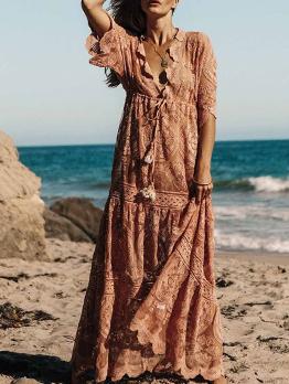 Bohemia Beach Style Elastic Waist Lace Maxi Dress