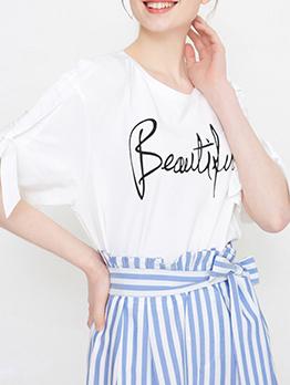 Simple Design Letter Binding T-Shirt