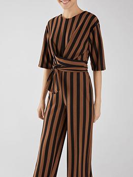 Striped V-Neck Binding Loose Jumpsuits