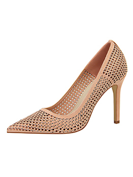 Simple Design Diamond Thin Heel Pumps