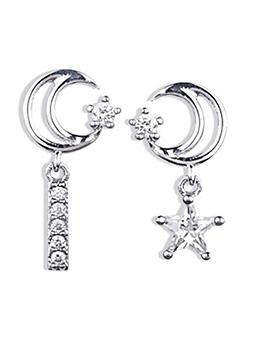 Chic Asymmetrical Moon Star Design Earring
