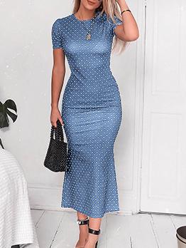 Crew Neck Wholesale Polka Dots Maxi Dress