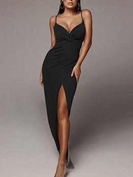 Deep V Neck Backless Split Hem Evening Maxi Dress
