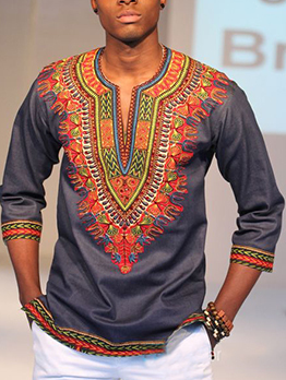 National Style V Neck Printed Tee For Men