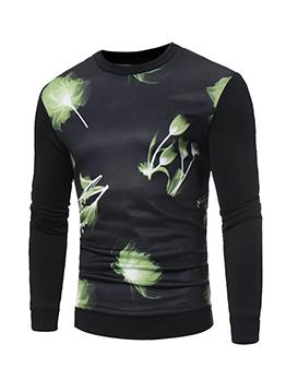 Simple Style Printed Long Sleeve Sweatshirt