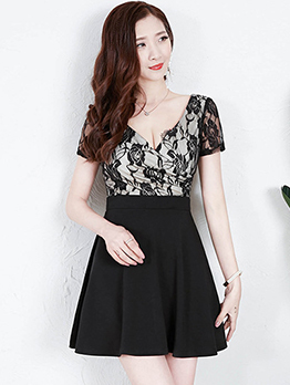 Lace Patchwork Low-cut A Line Dress