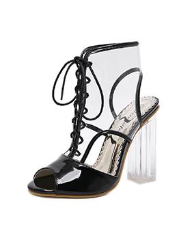 Fashionable PVC Chunky Slingback Boots