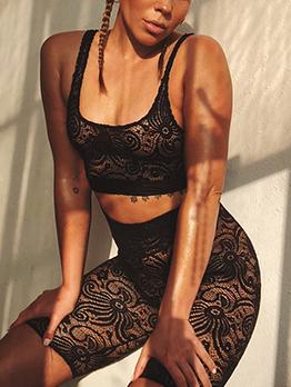 U Neck Lace Perspective 2 Piece Shorts Sets