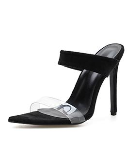 Minimalist Pointed PVC Black Heel Slippers