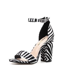 Spring Zebra Printed Chunky Ankle Strap Sandals