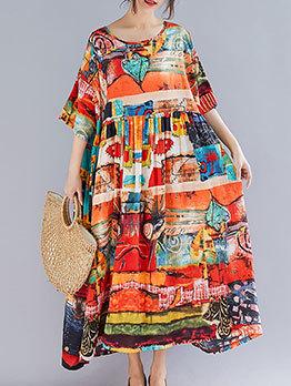 National Printed Large Hem Midi Dress