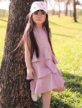 Casual Tiered Ruffles Sleeveless Girls Dresses