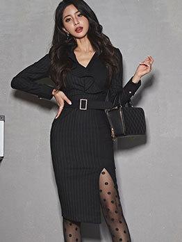 Striped Ruffle Slit Bodycon Dress