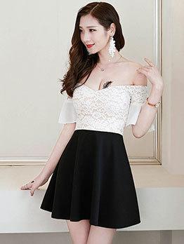 Lace Contrast Color Off The Shoulder Dress