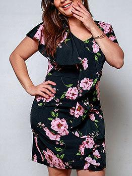 Ruffle Curve Flower Plus Size Dresses