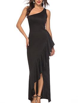 Asymmetrical Ruffled Hem Womens Black Maxi Dress