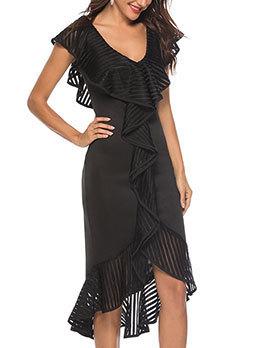 Elegant V Neck Ruffled Fitted Party Dress