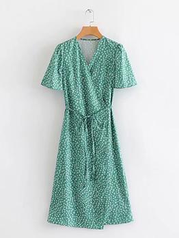 Printing V Neck Tie-Wrap Short Sleeve Dress