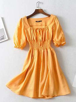 Square Neck Yellow Short Sleeve Dress