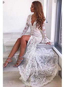 Lace Floor Length White Evening Dress