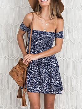 Off The Shoulder Floral Short Sleeve A-line Dress