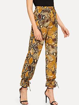 Fashion Tie-Wrap Snake-Print Pants
