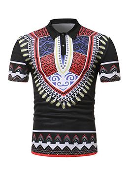 Ethnic Printed Turndown Neck Polo Shirt
