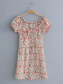 Boat Neck Floral Tie-Wrap Short Sleeve Dress