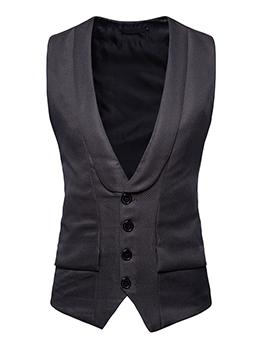 V Neck Single-Breasted Solid Waistcoat For Men
