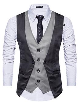 Stylish Buttons V-neck Mens Waistcoat
