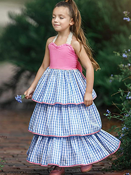 Plaid Contrast Color Girls Tiered Dress